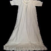 "IMPRESSIVE 40"" White Cotton Baby Christening Gown"