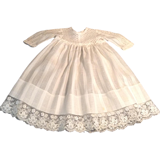 Lovely Early 1900's Doll Dress With Lace Inserts on Bodice & Sleeves