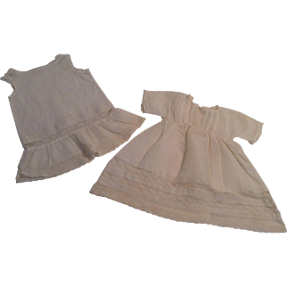 """Lovely 12"""" Doll Dress With Lace Trim And  Matching Slip"""