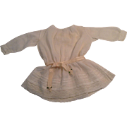"14"" White Batiste Drop Waist  Doll Dress With Lace Trim"