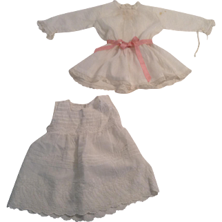 """Nice 13"""" White Batiste Doll Dress With Lace Trim And Slip"""