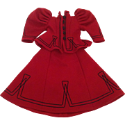 "Beautiful 16"" Vintage Red Wool Victorian Style 2-Piece Doll Outfit"