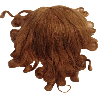 Early 1900's Light Brown Human Hair Doll Wig