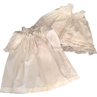 """Lovely 18-1/2"""" White Batiste Doll Dress And Slip With Lots Of Lace Trim"""