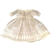 "Beautiful 15"" Vintage Sheer Cotton White Doll Dress With Lace Trim"