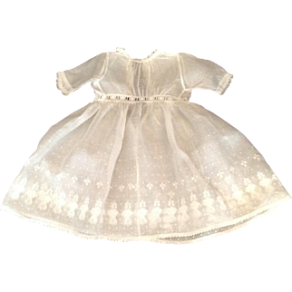 """Beautiful 15"""" Vintage Sheer Cotton White Doll Dress With Lace Trim"""