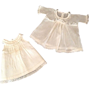 "Sweet 9-1/2"" Sheer Doll Dress With Slip - Lace Trim"