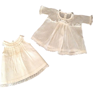 """Sweet 9-1/2"""" Sheer Doll Dress With Slip - Lace Trim"""