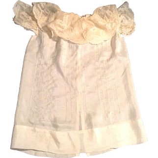 """15"""" Silk Blend Doll Dress With Lace Collar & Sleeves"""