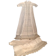 "Gorgeous Vintage 36"" Baby Christening Gown With Matching Slip"
