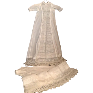 """Gorgeous Vintage 36"""" Baby Christening Gown With Matching Slip"""