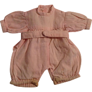 """Cute 4-1/2""""  Pink Cotton Romper Suit For A Small Doll"""