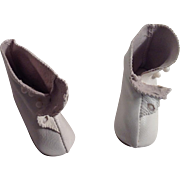 Pair Of Vintage White Leather Doll Boots