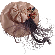 Vintage Satin Doll Hat With Flowers & Feathers