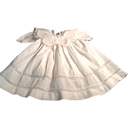 "Beautiful 17"" White Batiste Doll Dress With Lace Trim Collar"