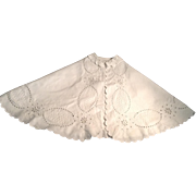 """Wonderful 15"""" Eyelet Embroidery On Cotton Doll Cape"""