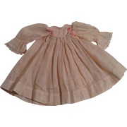 "Sweet  Vintage 7-1/2"" Pink Batiste Doll Dress With Lace TrimSo"