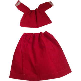 Vintage Red Cotton Skirt & Blouse