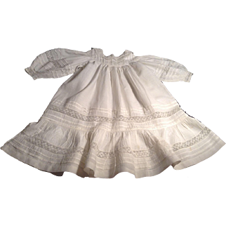 "Lovely 24"" Doll/Child Batiste Doll Dress With Tucks & Lace Inserts"