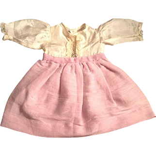 "Cute 9"" Vintage Silk Blend Doll Dress With Lace Trim"