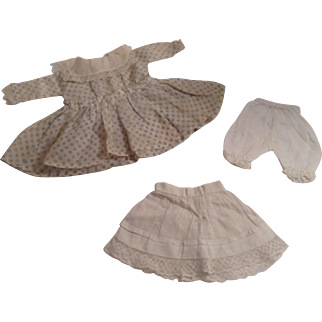 "7-1/2"" Vintage Batiste Check Doll Dress With Lace Trim - Pantaloons & Petticoat"