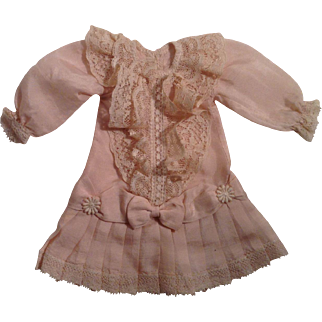 "Darling 7"" Vintage Drop Waist Silk Dress With Lace Trim"