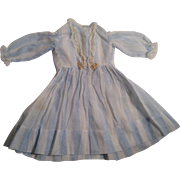 "Lovely Vintage 12-1/2""  Blue & White Batiste Doll Dress With Lace Trim"