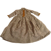 Lovely Vintage Pale Green Taffeta Doll Dress With Lace Overlay Skirt