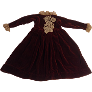 "17"" Vintage Maroon Velvet Doll Dress With Lace Trim"