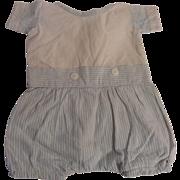 "Nice 13"" Vintage Cotton Romper Suit For A Boy Doll"