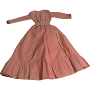 "Wonderful 1880's  20-1/2""  Pink & White Cotton Doll Dress With Lace Trim"