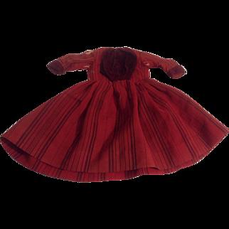 """13-1/2"""" 1890's  Linen Blend Doll Dress With Hidden Pocket"""