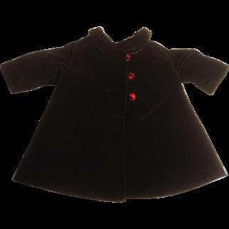 """Very Nice 9-1/2"""" Brown Velvet Doll Coat"""