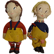 """CUTE 16"""" Character Cloth Dolls - """"Trixy Twins"""", Mugsy And Margie"""
