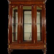 French Antique Louis XVI Mahogany w/Marquetry Vitrine/Display Cabinet