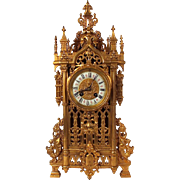 Japy Freres French Gothic Gilt Bronze Table Clock