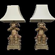 Pair of Italian Cherubs Lamps