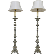 Pair of Carved Brass Floor Lamps