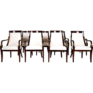 Set of Eight Empire-Style Mahogany Dining Chairs