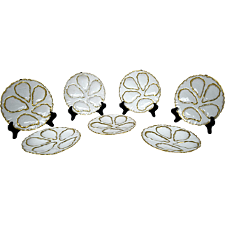 Set of Six French Limoges Oyster Plates