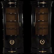 Beautiful Pair of 19th Century Empire Corner Bookcases