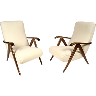 Pair of Mid-Century Modern Reclining Lounge Chairs