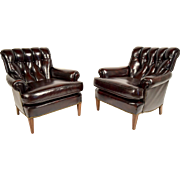 Pair of Continental-style Leather Chairs