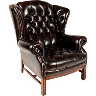 Vintage Wing Back Leather Tufted Chair