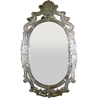 Vintage Venetian-style Oval Etched Mirror