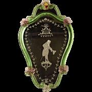 Antique Venetian Murano Glass Etching Mirror