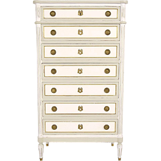 French Louis XVI Painted Semaniere/Chest of Drawers