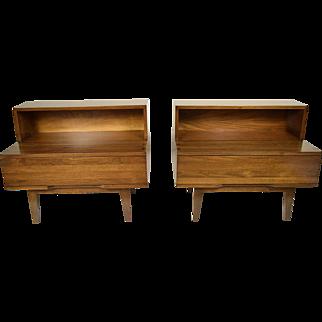 Pair of Mid-Century Modern Walnut End Tables