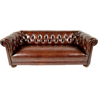 Vintage Chesterfield Brown Leather Sofa