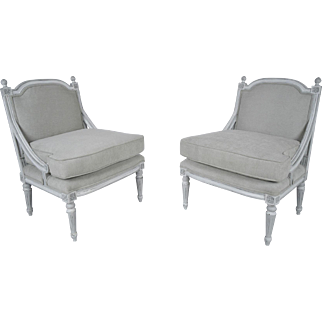 Pair of Antique French Louis XVI-style Bergeres